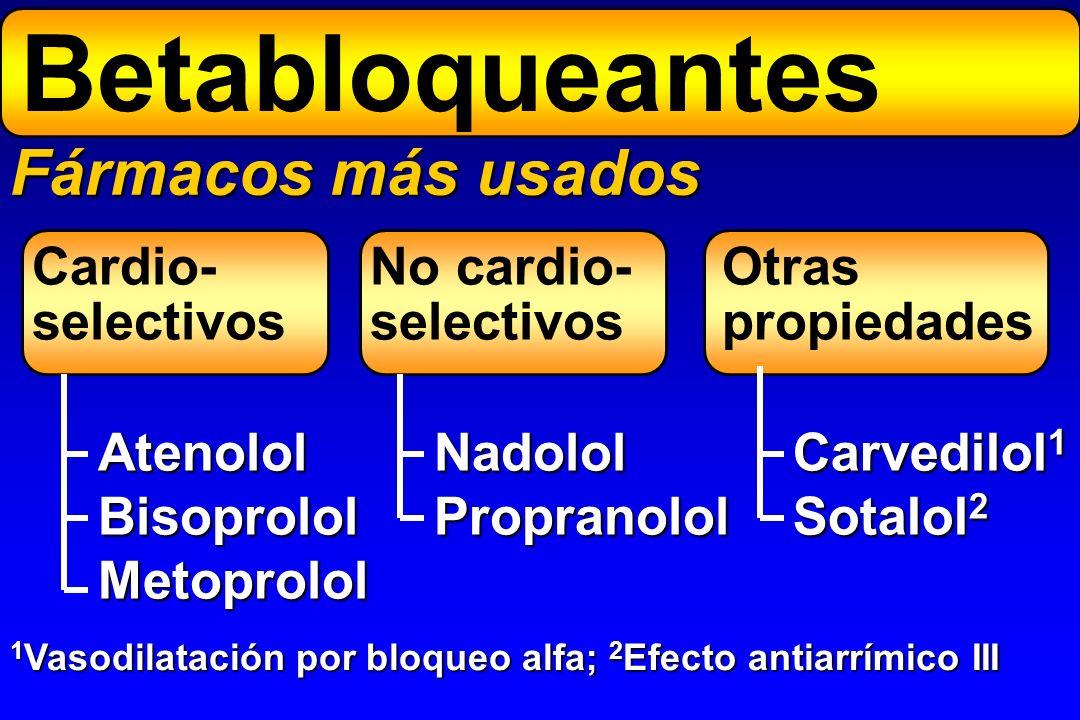 Betabloqueantes Fármacos más usados Cardio- selectivos No cardio-