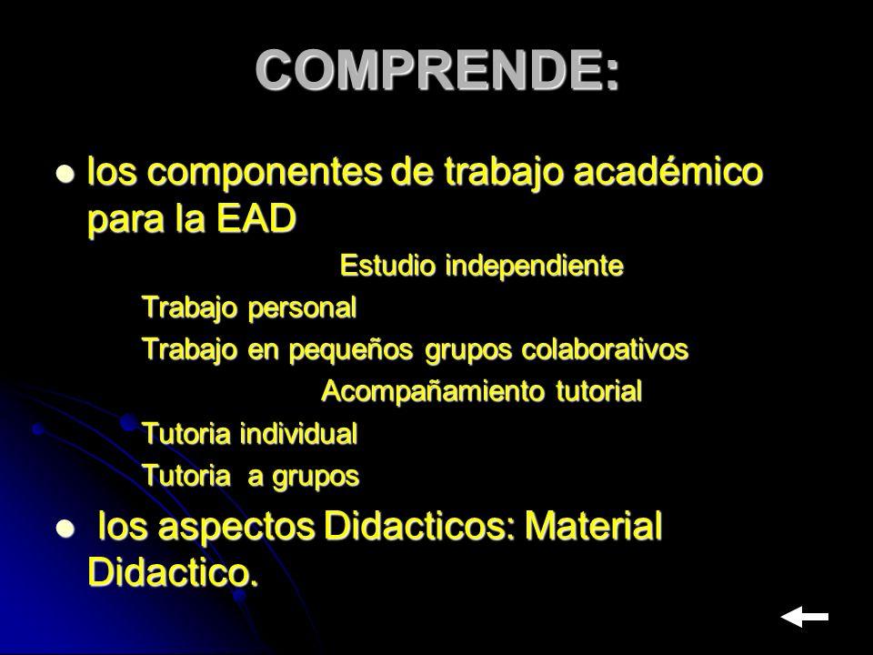 COMPRENDE: los componentes de trabajo académico para la EAD