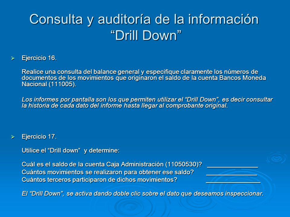Consulta y auditoría de la información Drill Down