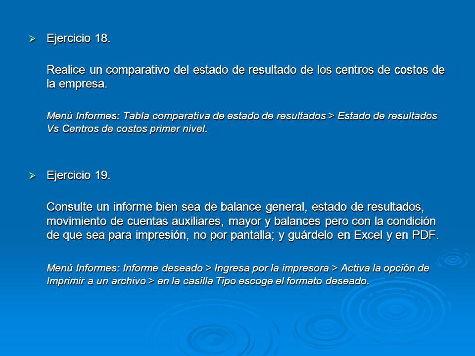 Ejercicio 18. Realice un comparativo del estado de resultado de los centros de costos de la empresa.