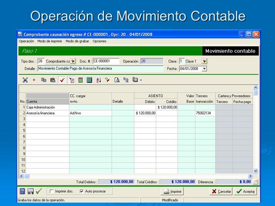 Operación de Movimiento Contable