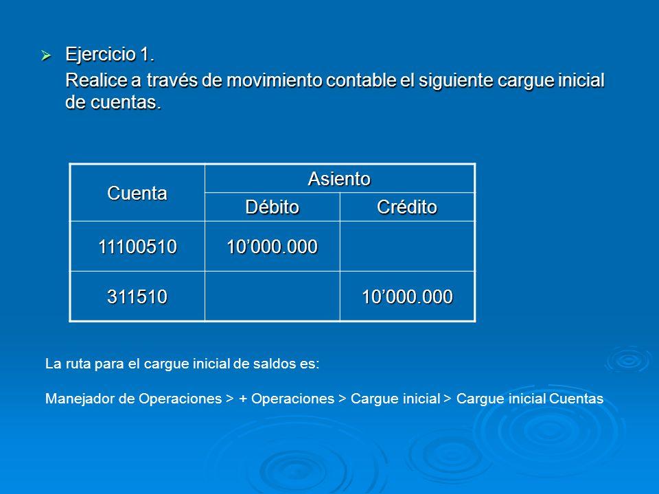 Ejercicio 1. Realice a través de movimiento contable el siguiente cargue inicial de cuentas. Cuenta.