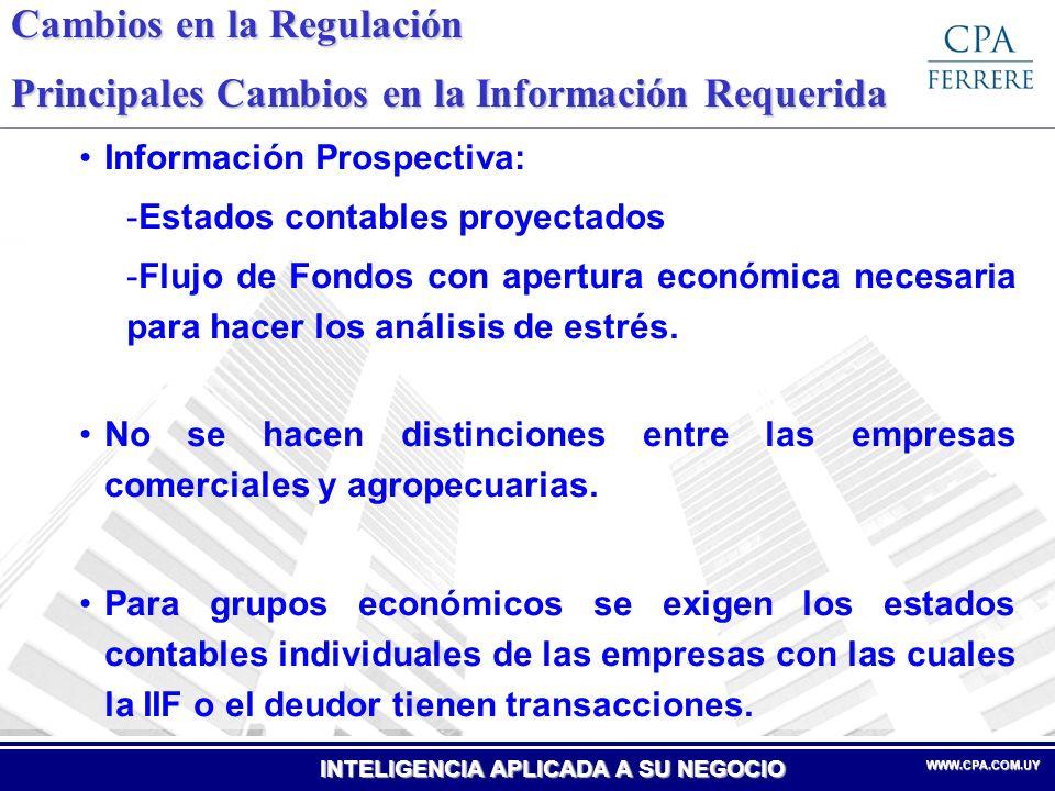 Cambios en la Regulación Principales Cambios en la Información Requerida
