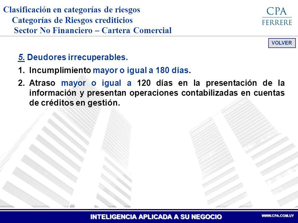 Clasificación en categorías de riesgos Categorías de Riesgos crediticios Sector No Financiero – Cartera Comercial