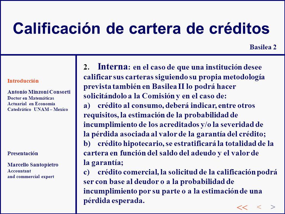 Calificación de cartera de créditos