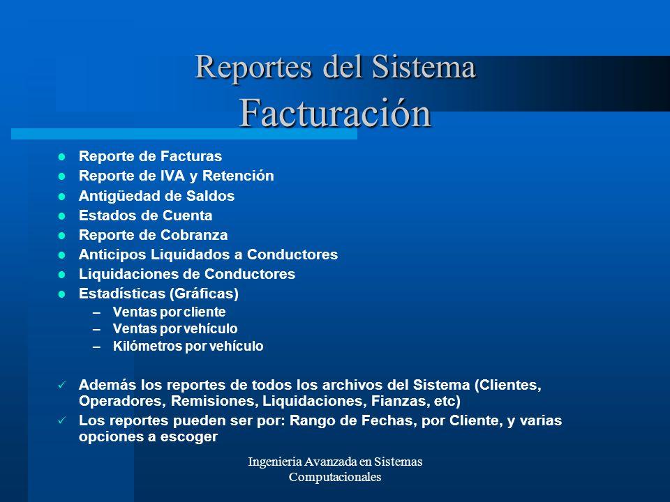 Reportes del Sistema Facturación