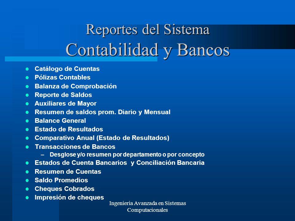 Reportes del Sistema Contabilidad y Bancos