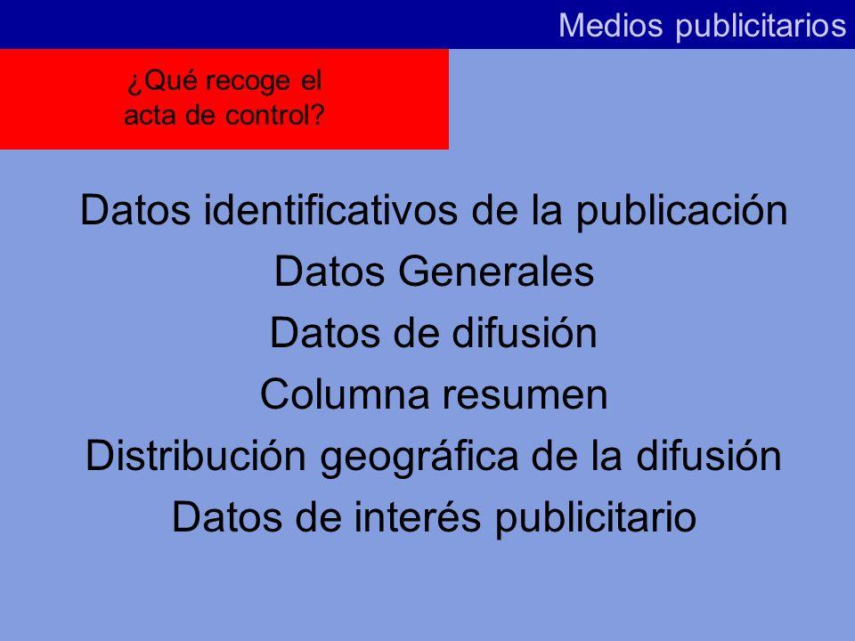 Datos identificativos de la publicación Datos Generales