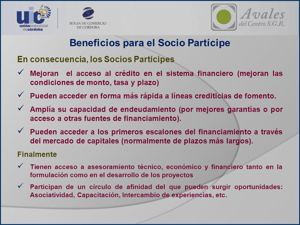Beneficios para el Socio Partícipe