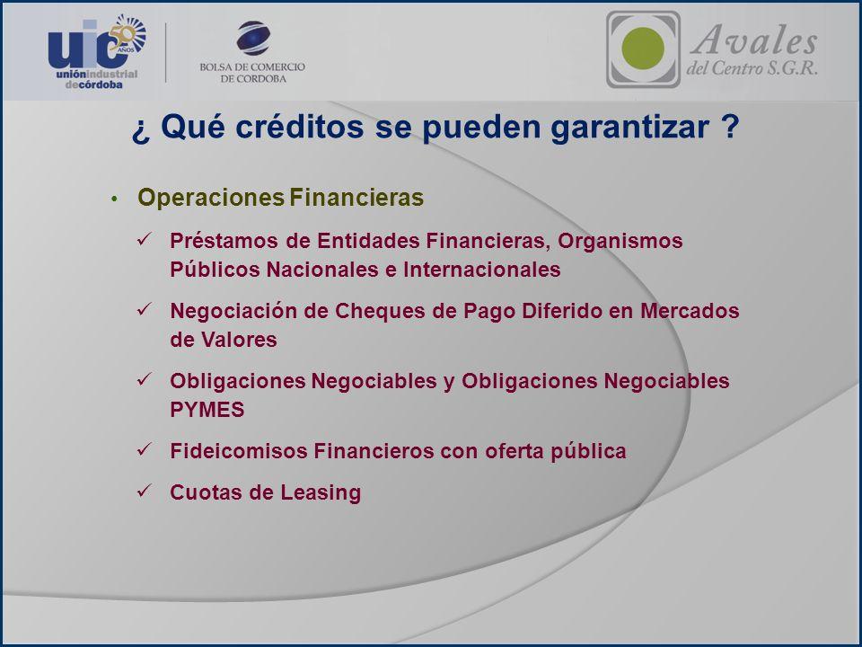 ¿ Qué créditos se pueden garantizar