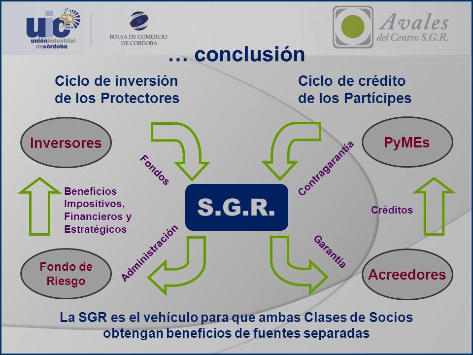 S.G.R. … conclusión Ciclo de inversión de los Protectores
