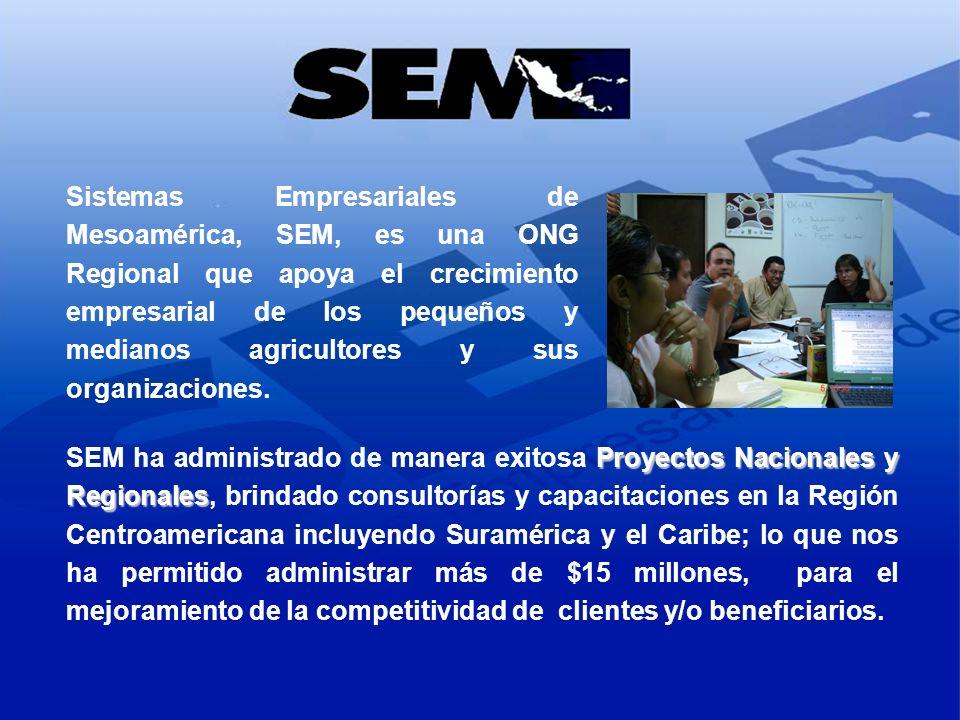 Sistemas Empresariales de Mesoamérica, SEM, es una ONG Regional que apoya el crecimiento empresarial de los pequeños y medianos agricultores y sus organizaciones.