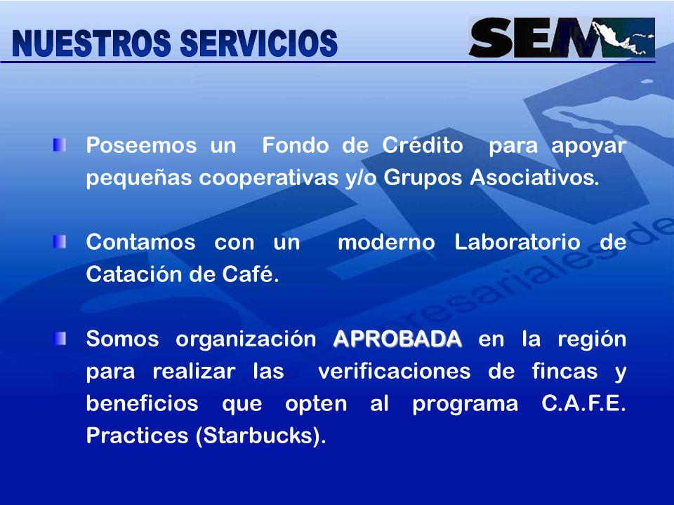 NUESTROS SERVICIOS Poseemos un Fondo de Crédito para apoyar pequeñas cooperativas y/o Grupos Asociativos.