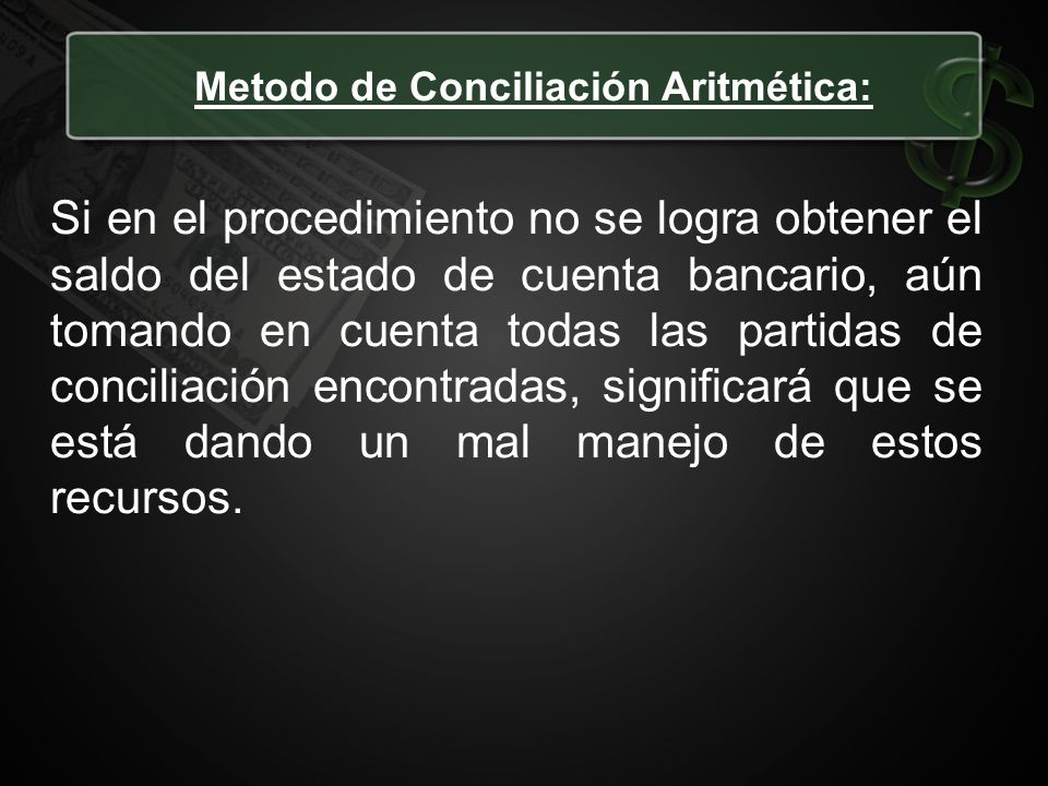 Metodo de Conciliación Aritmética: