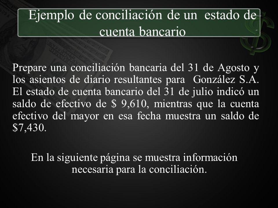 Ejemplo de conciliación de un estado de cuenta bancario