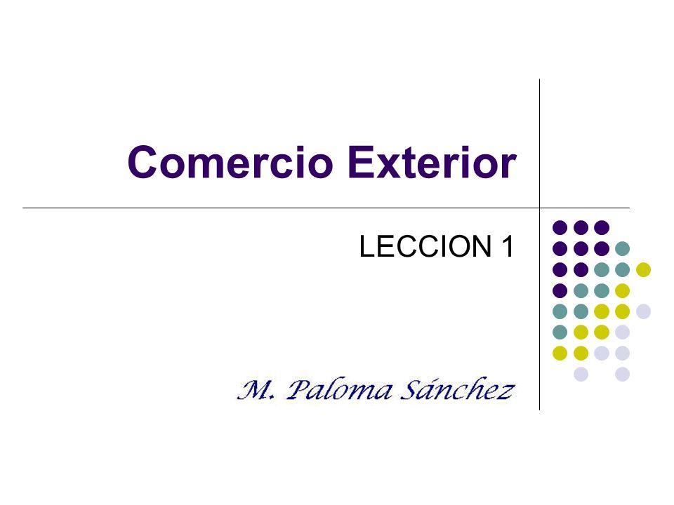 Comercio exterior. Prof. M. Paloma Sánchez LECCION 1