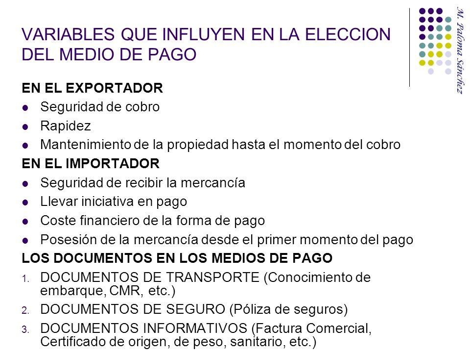VARIABLES QUE INFLUYEN EN LA ELECCION DEL MEDIO DE PAGO