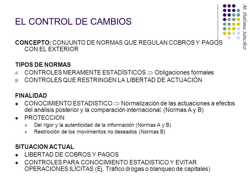 EL CONTROL DE CAMBIOS CONCEPTO: CONJUNTO DE NORMAS QUE REGULAN COBROS Y PAGOS CON EL EXTERIOR. TIPOS DE NORMAS.
