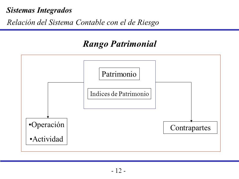 Rango Patrimonial Relación del Sistema Contable con el de Riesgo