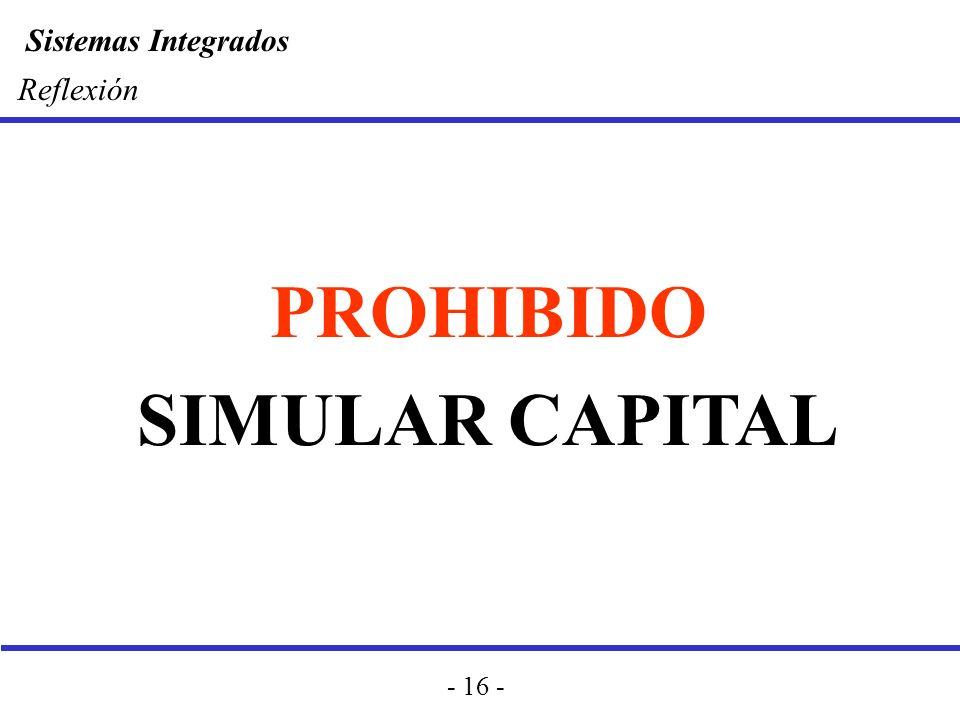 Reflexión PROHIBIDO SIMULAR CAPITAL