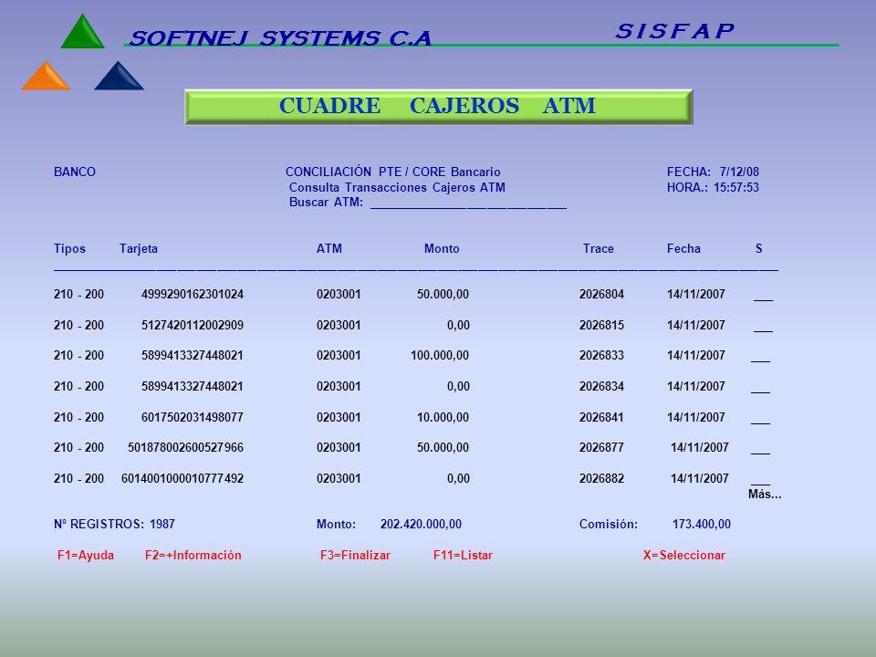 S I S F A P SOFTNEJ SYSTEMS C.A CUADRE CAJEROS ATM