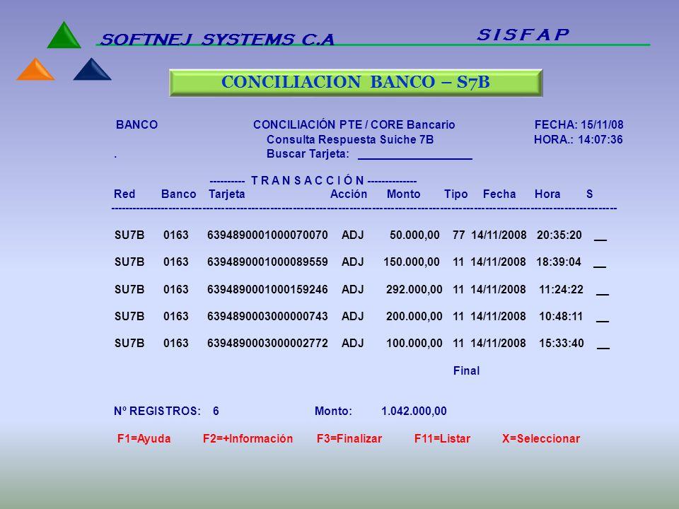 CONCILIACION BANCO – S7B