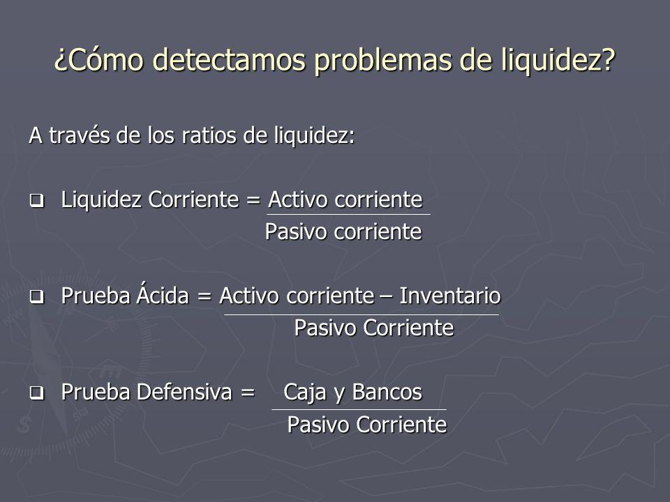 ¿Cómo detectamos problemas de liquidez