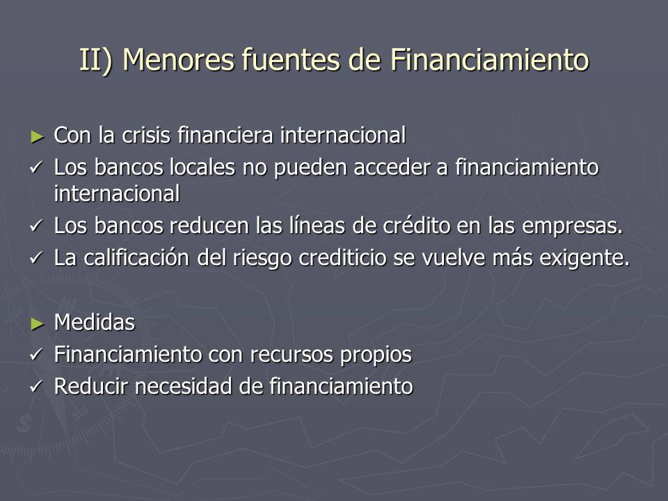 II) Menores fuentes de Financiamiento