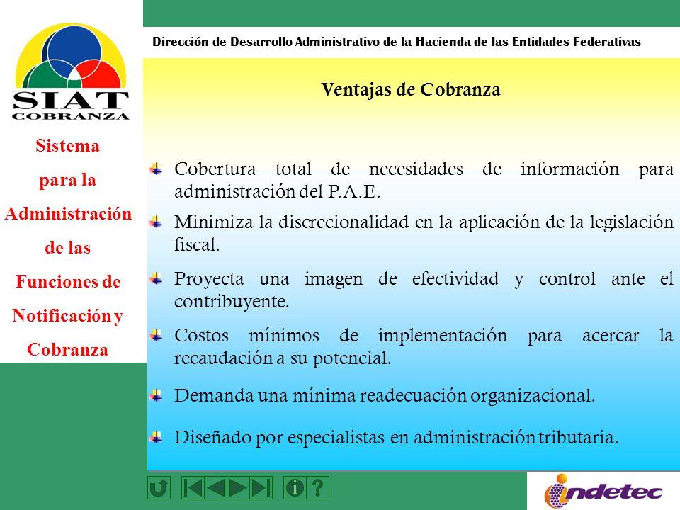 Ventajas de Cobranza Cobertura total de necesidades de información para administración del P.A.E.