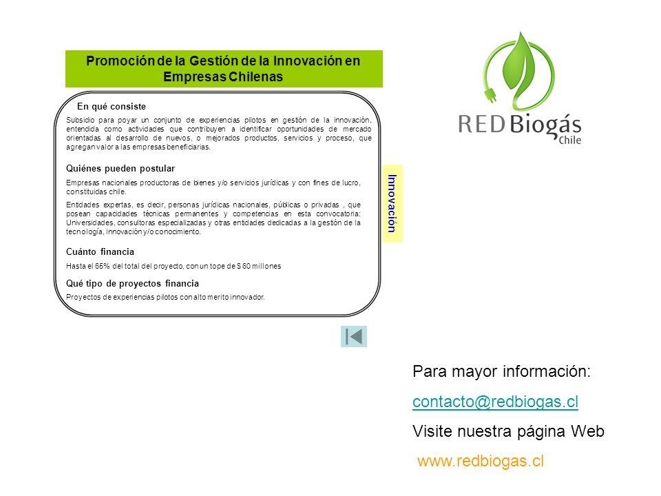 Promoción de la Gestión de la Innovación en Empresas Chilenas