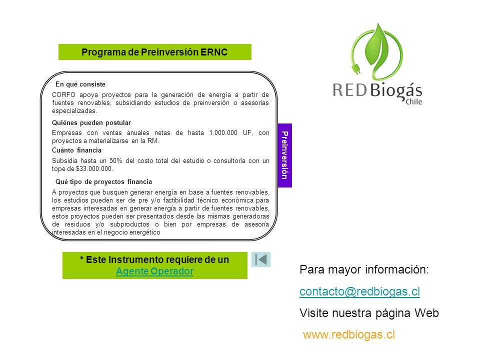 Para mayor información: contacto@redbiogas.cl