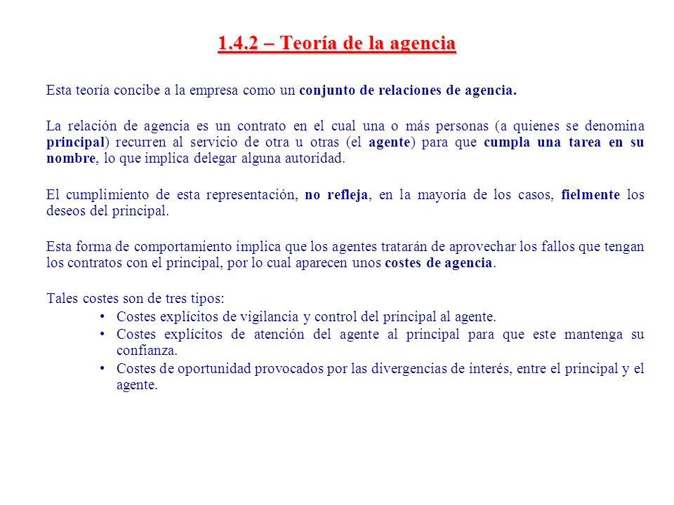 1.4.2 – Teoría de la agencia Esta teoría concibe a la empresa como un conjunto de relaciones de agencia.