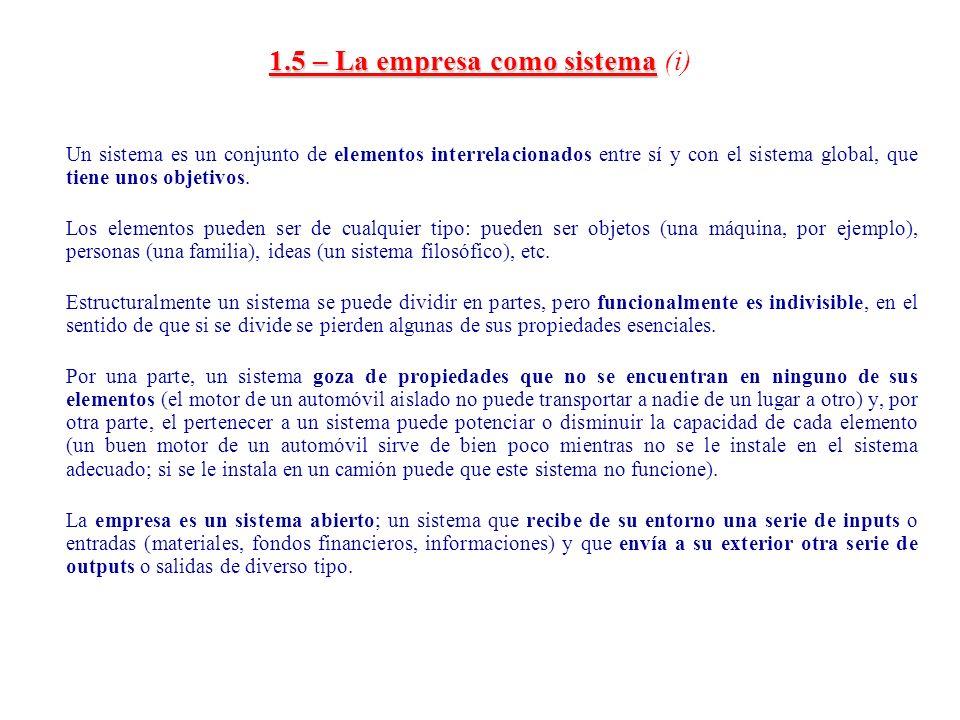 1.5 – La empresa como sistema (i)