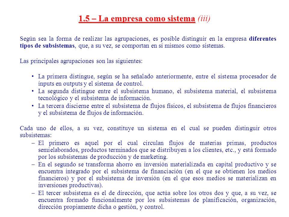 1.5 – La empresa como sistema (iii)