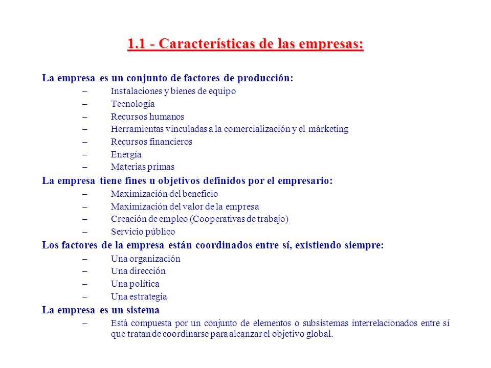 1.1 - Características de las empresas: