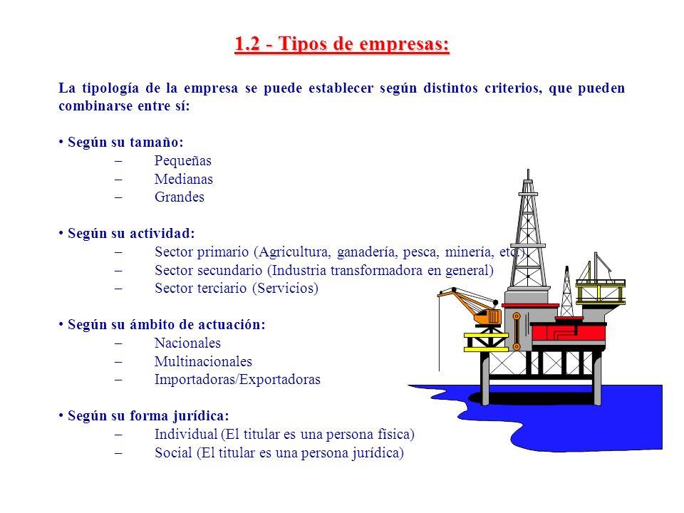 1.2 - Tipos de empresas: La tipología de la empresa se puede establecer según distintos criterios, que pueden combinarse entre sí:
