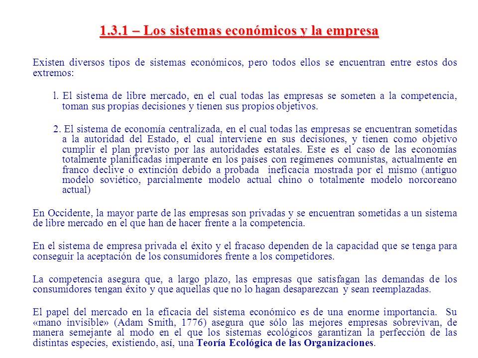 1.3.1 – Los sistemas económicos y la empresa