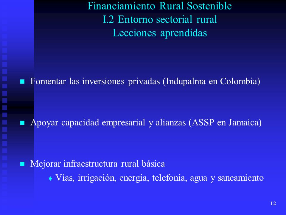 Financiamiento Rural Sostenible I