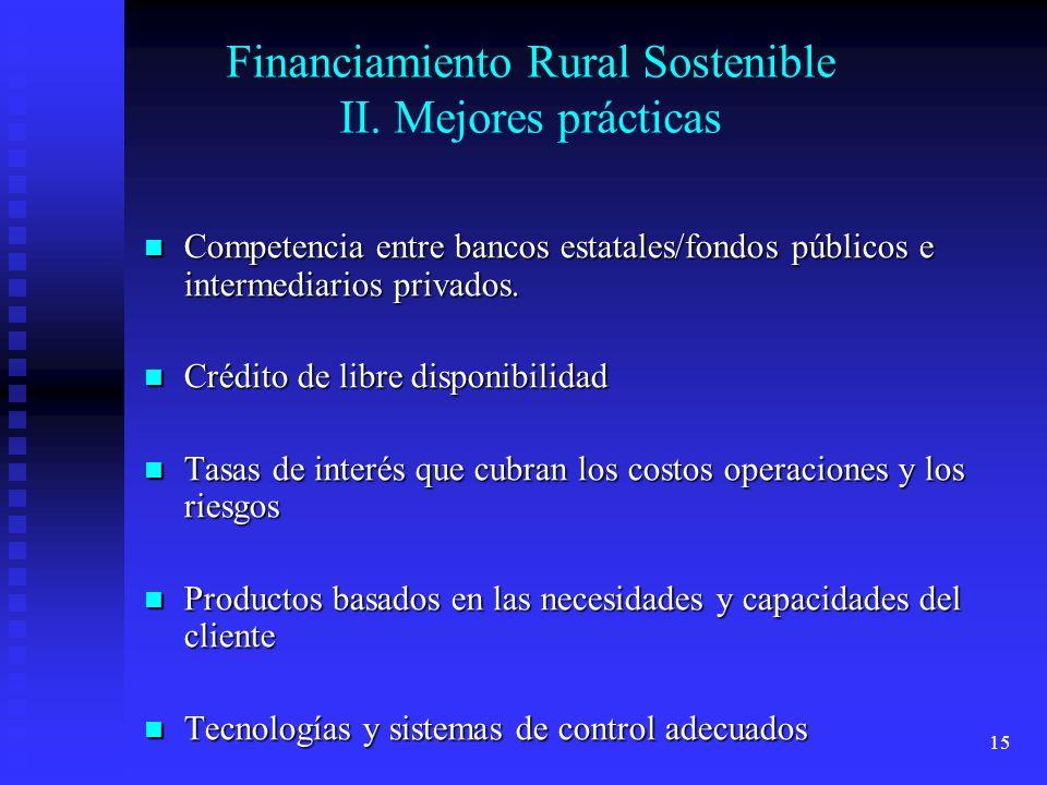 Financiamiento Rural Sostenible II. Mejores prácticas