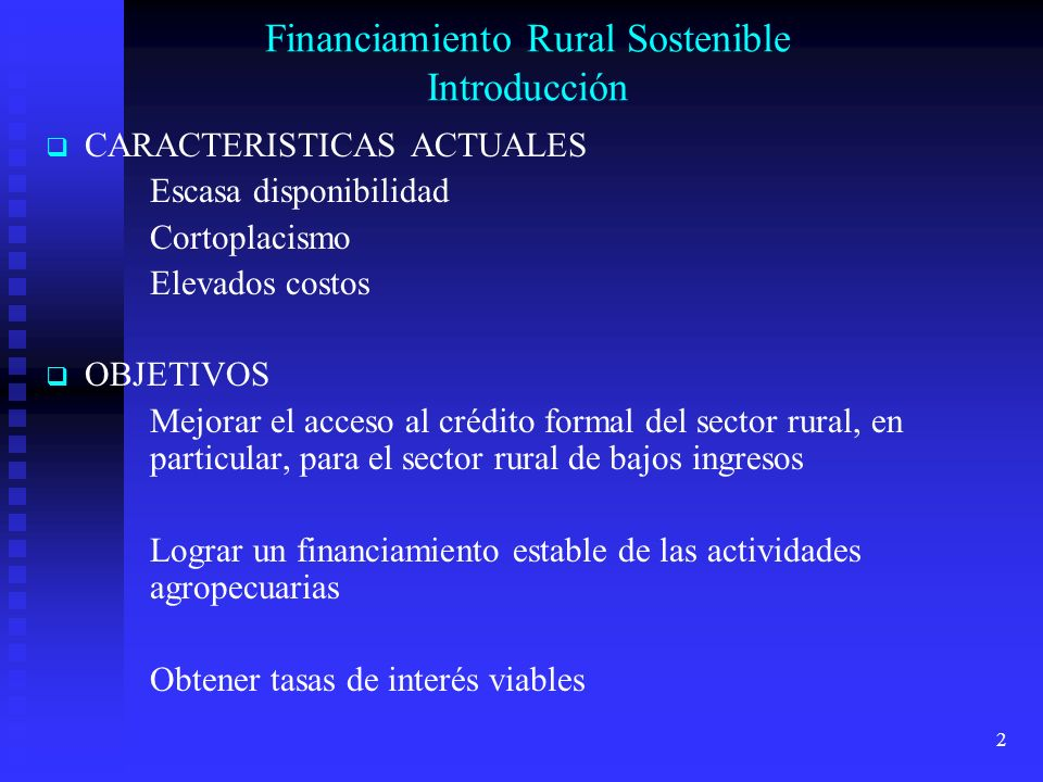 Financiamiento Rural Sostenible Introducción