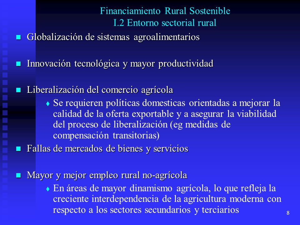 Financiamiento Rural Sostenible I.2 Entorno sectorial rural