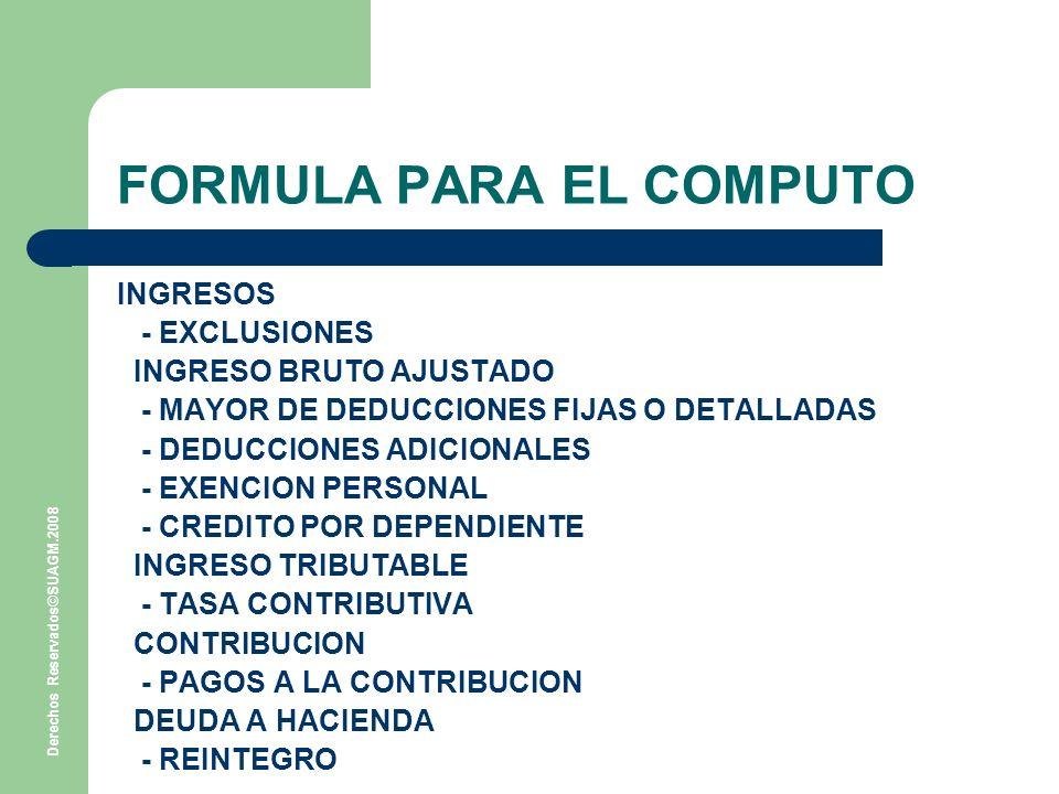 FORMULA PARA EL COMPUTO