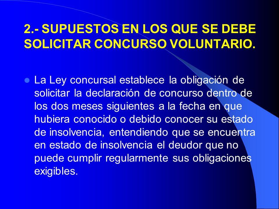 2.- SUPUESTOS EN LOS QUE SE DEBE SOLICITAR CONCURSO VOLUNTARIO.