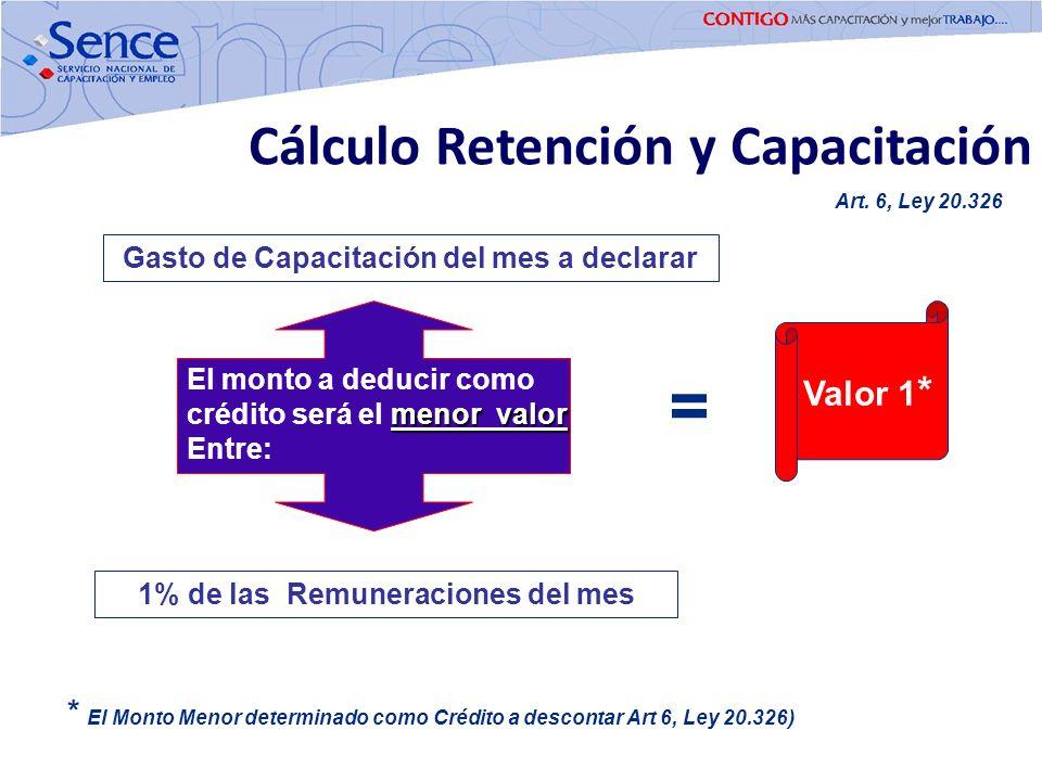 = Cálculo Retención y Capacitación Valor 1*