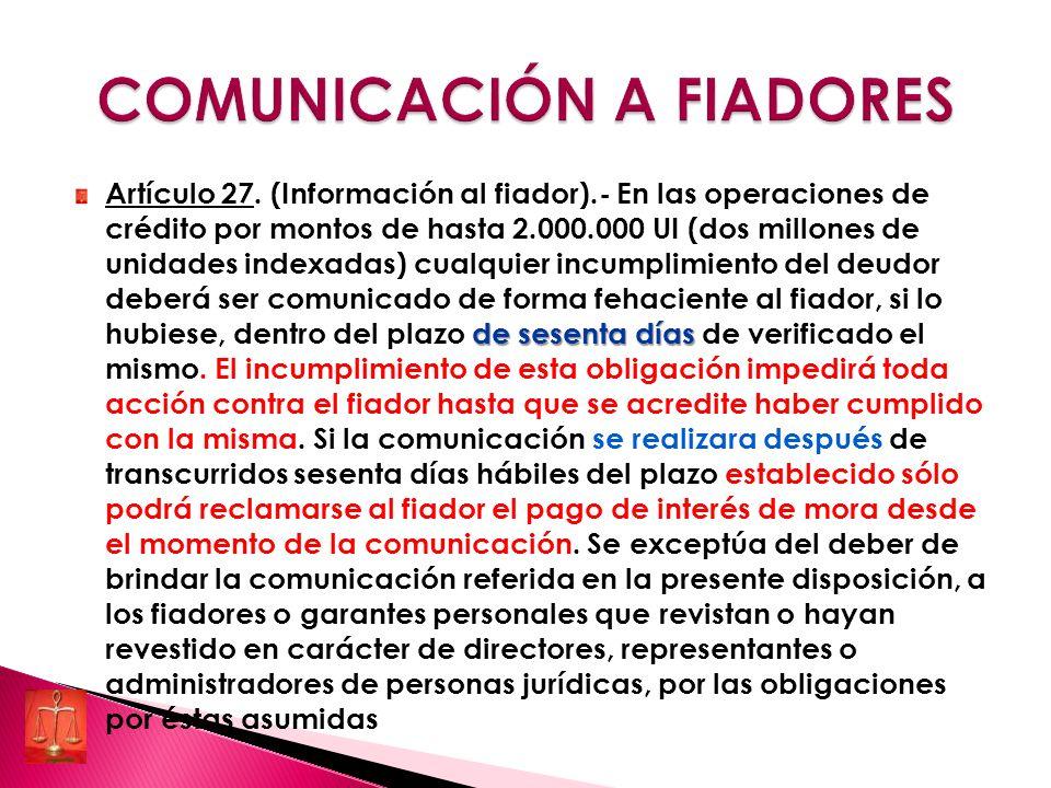 COMUNICACIÓN A FIADORES
