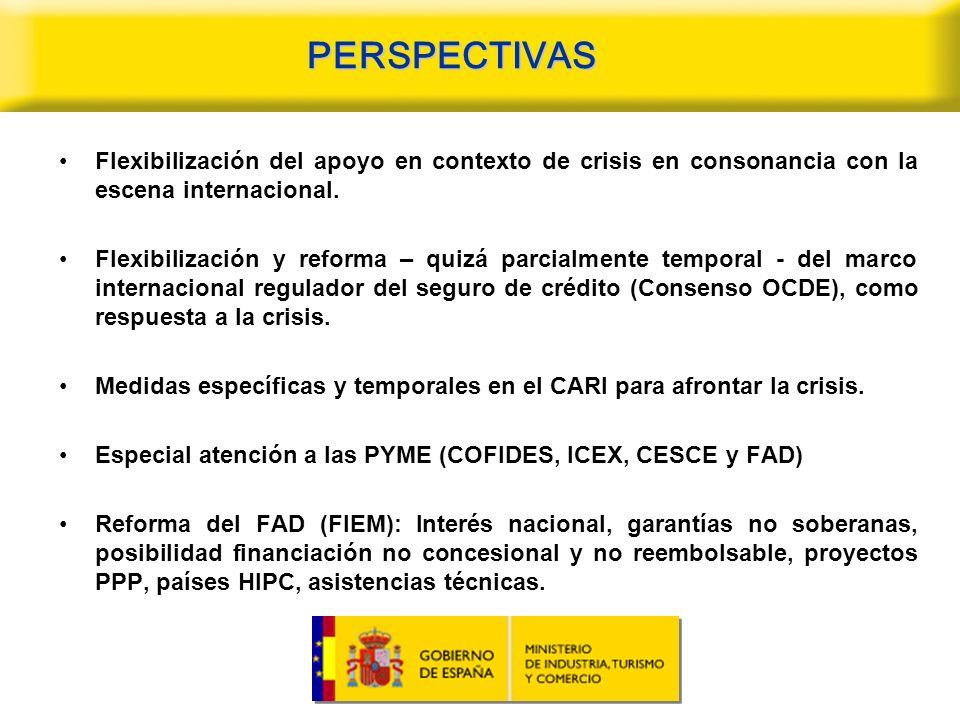 PERSPECTIVAS Flexibilización del apoyo en contexto de crisis en consonancia con la escena internacional.