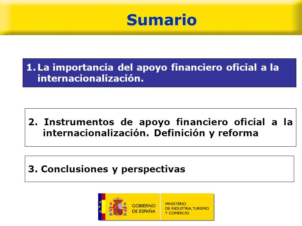 Sumario La importancia del apoyo financiero oficial a la internacionalización.