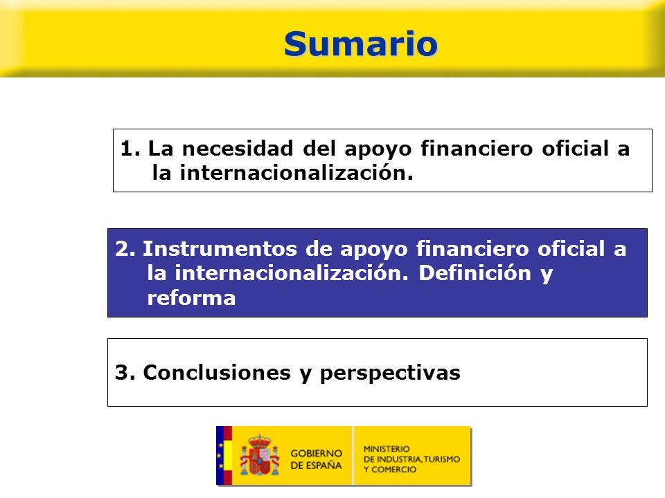 Sumario 1. La necesidad del apoyo financiero oficial a la internacionalización.