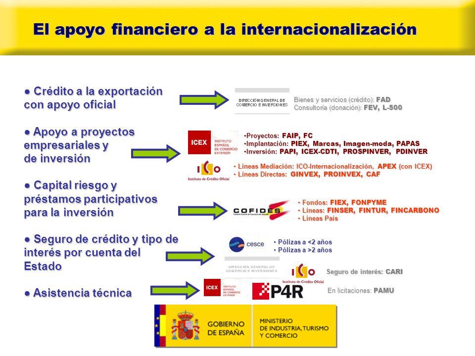 El apoyo financiero a la internacionalización