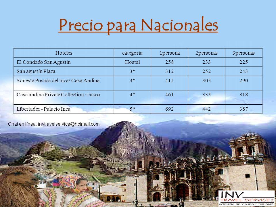 Precio para Nacionales